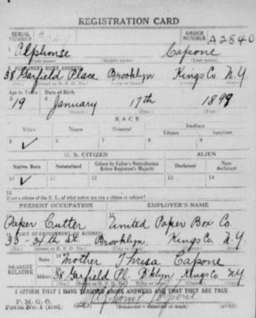 al capone draft card